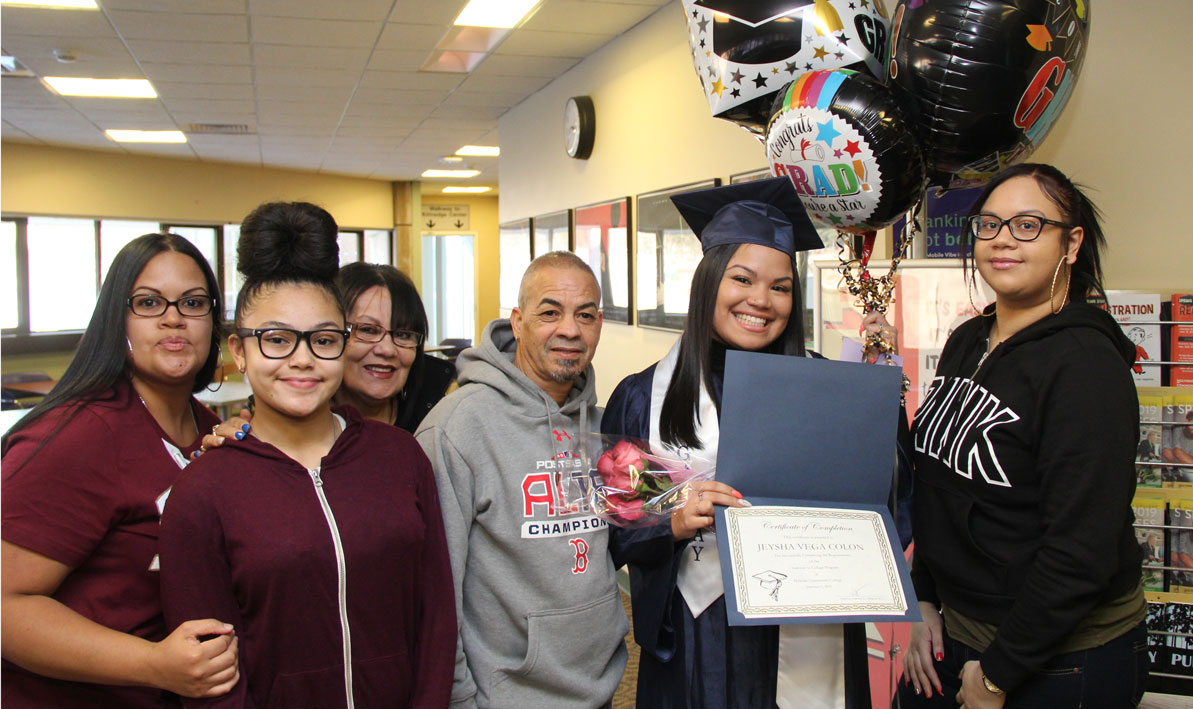 Gateway graduate Jeysha Vega Colon of Springfield with her family