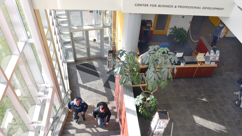 The atrium of the Kittredge Center building at Holyoke Community College