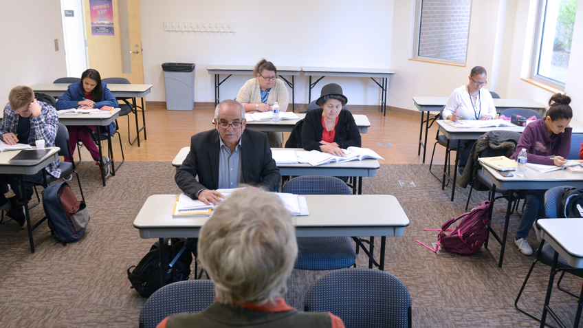 A Kittredge Center classroom full of adult students