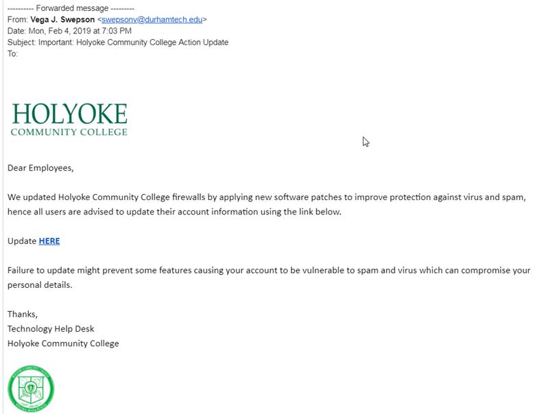 Spam Alert | Holyoke Community College