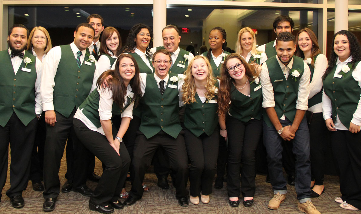 Green Key Honors Society students celebrate before Convocation
