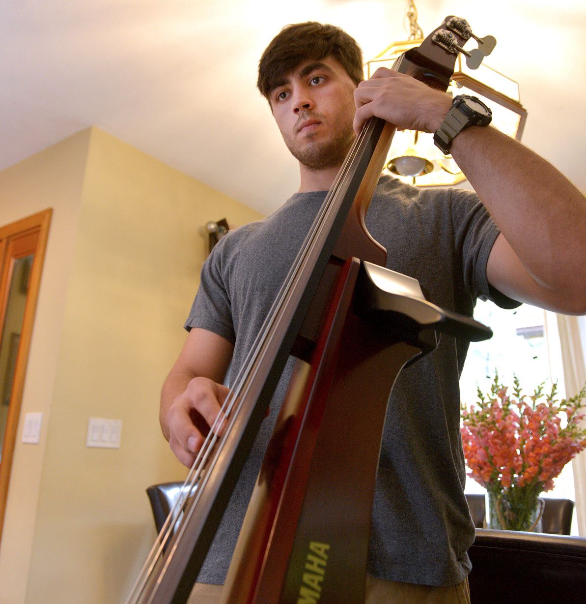 David Dubchak plays upright bass in the family band.