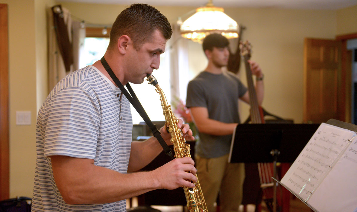 Roman Dubchak '17 plays saxophone in the family band.