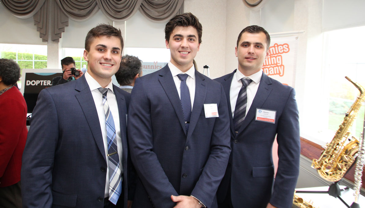 Filipp '18, David '17 and Roman '17 attend the Grinspoon Entrepreneurship Initiative Award Ceremony & Banquet at the Log Cabin in Holyoke in April.