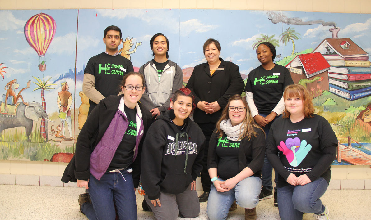 HCC president Christina Royal and students volunteered during Spring Break week for a community service day at Kelly Elementary School in Holyoke.