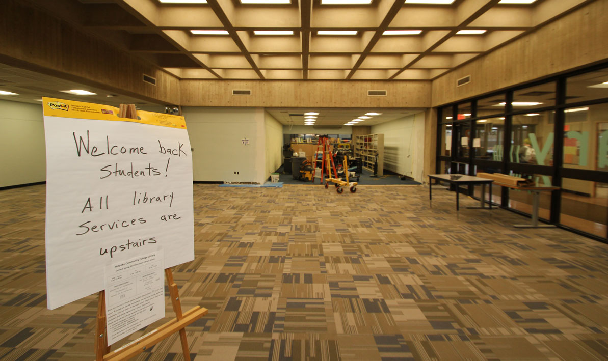 The HCC Library lobby stayed open during the renovations.