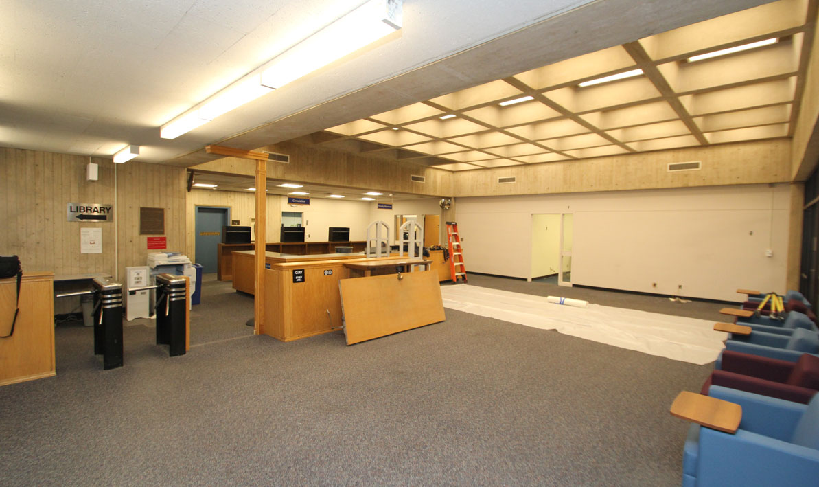 The HCC Library lobby at the beginning of renovations