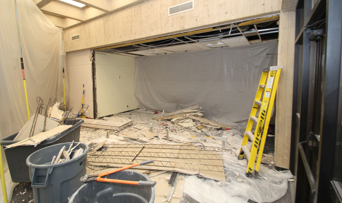 The wall between the library lobby and the room that once housed the HCC Archives was removed.