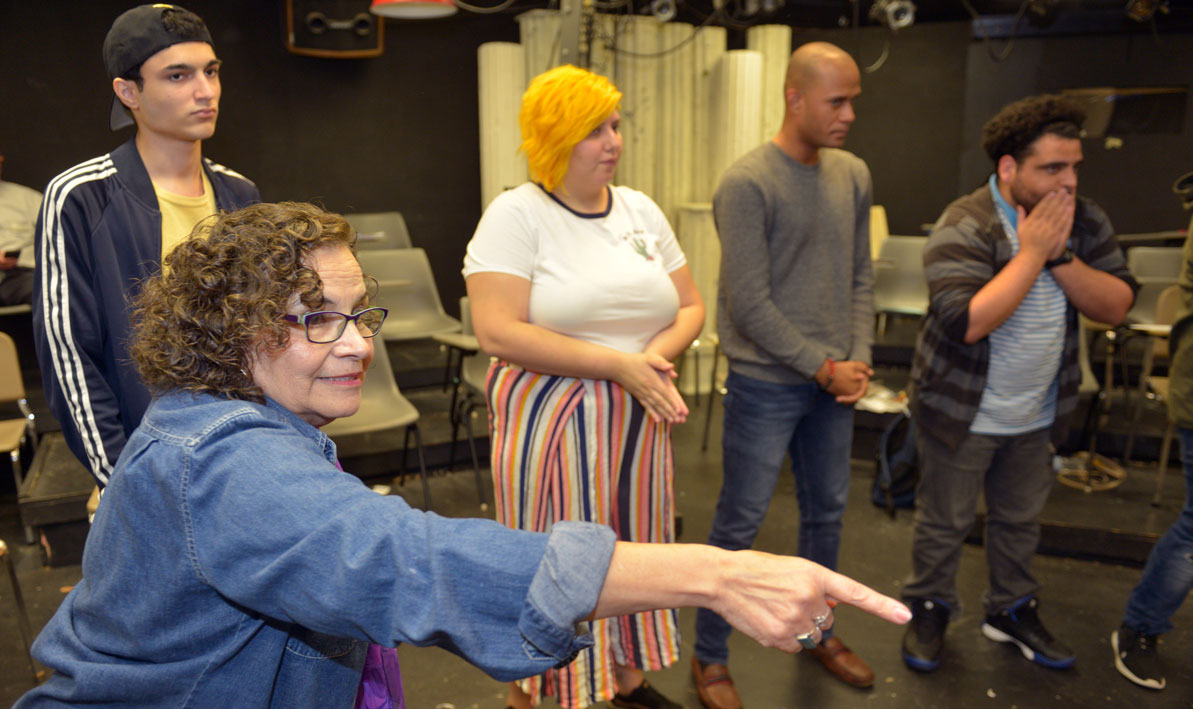 HCC theater professor Pat Sandoval directs students in an acting class
