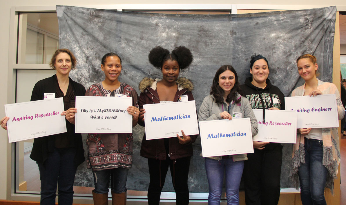 Students from HCC at the inaugural Pioneer Valley Women in STEM network event in October.