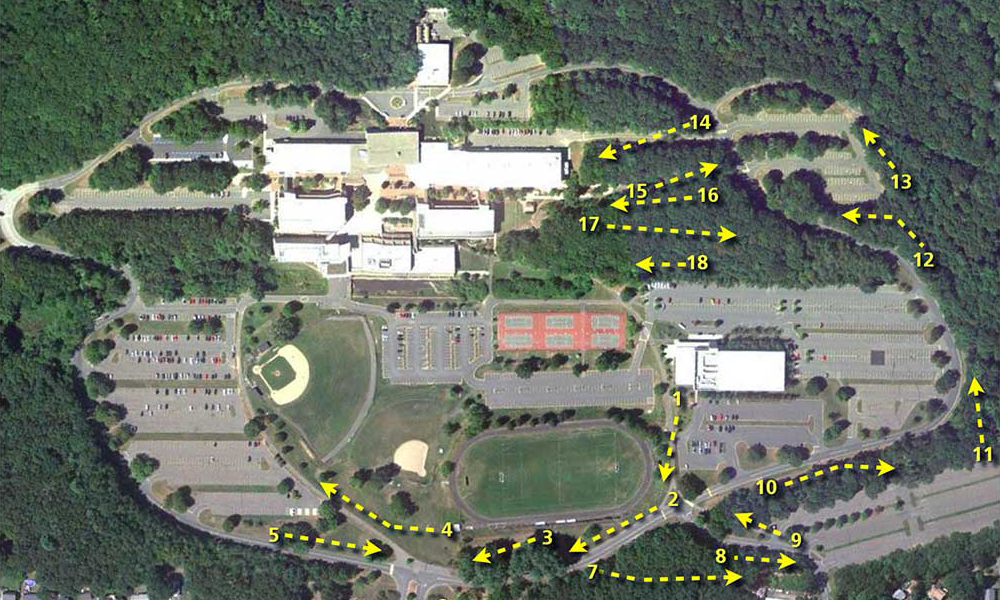 A map of the HCC campus showing disc golf locations