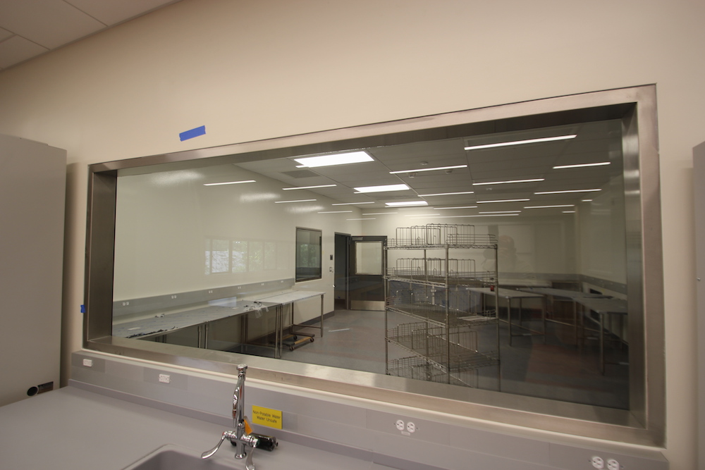 A clean window in HCC's new Center for Life Sciences