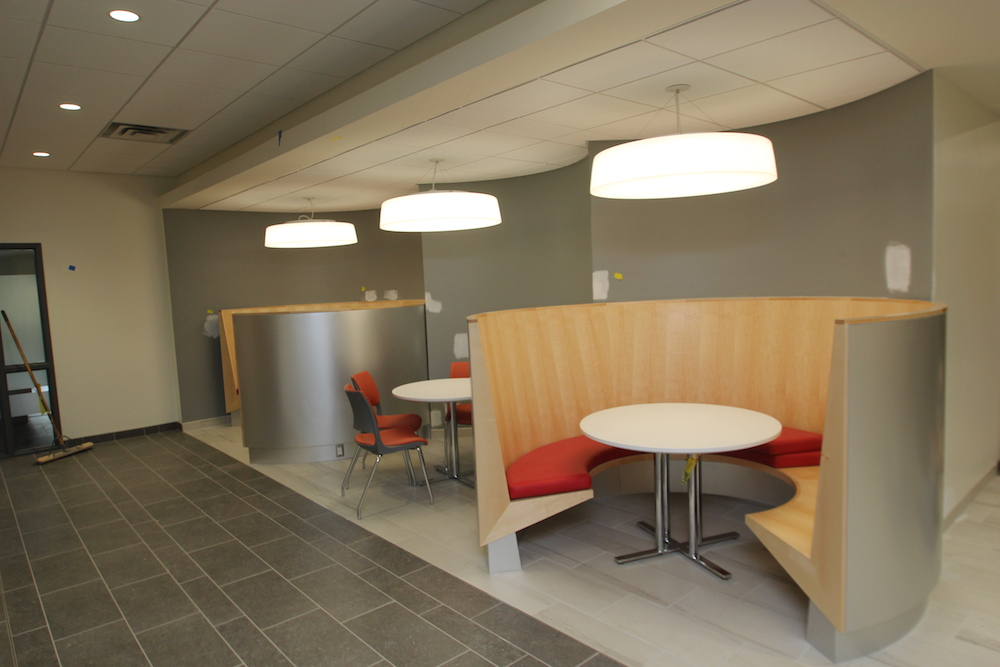 A lounge area in HCC's new Center for Life Sciences