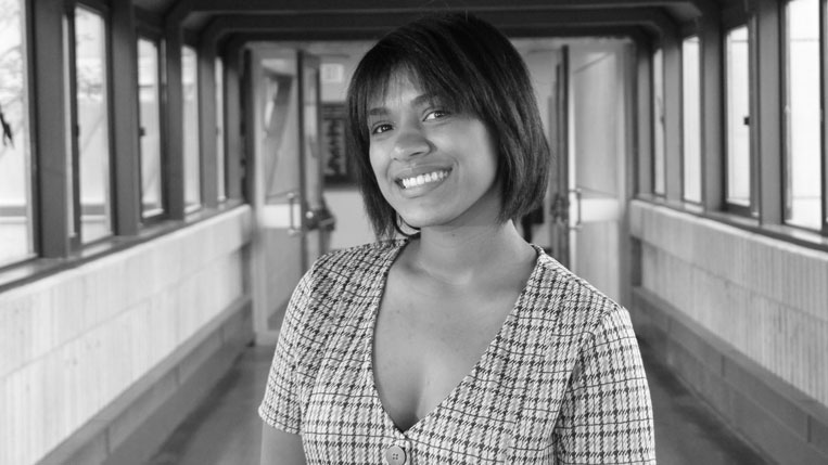 A black-and-white photo of HCC student trustee Zhane Catala