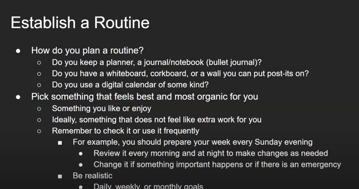 "A screen capture from the video with the words ""Establish a Routine"""