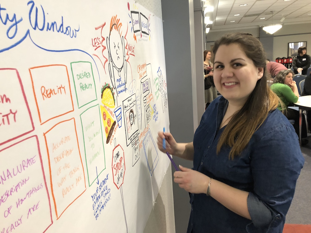 A graphic recorder takes illustration notes during the Student Experience Workshop