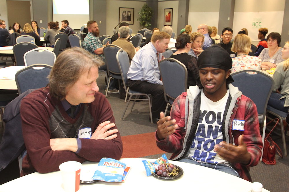 HCC community members meet and discuss ideas during the Student Experience Workshop.