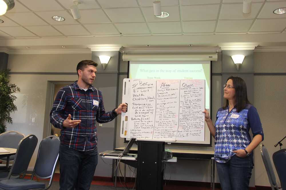 HCC community members present ideas during the Student Experience Workshop.