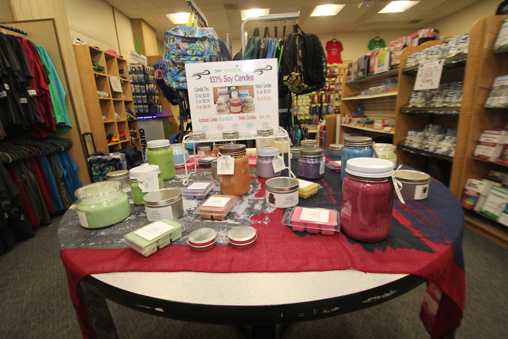 A candle display in the HCC College Store