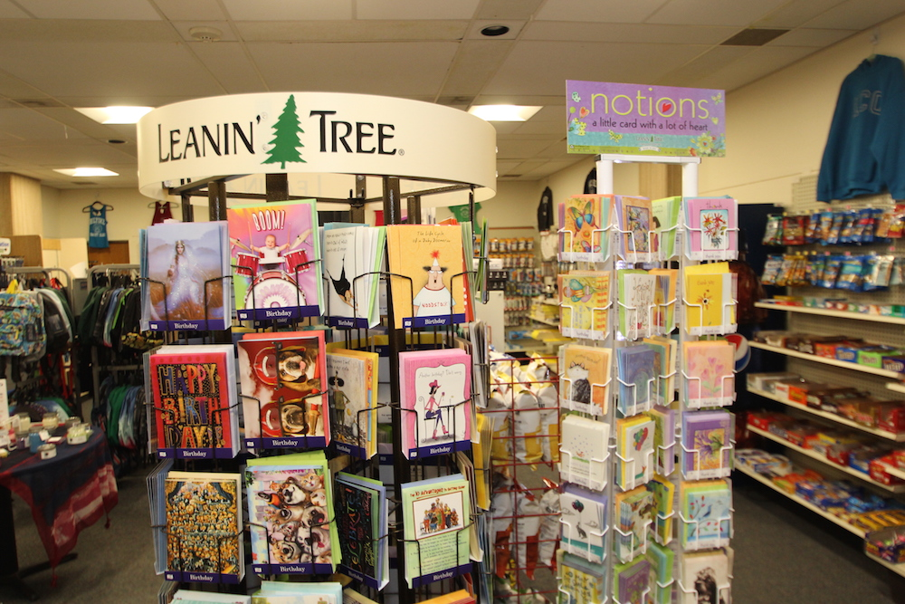 A greeting card display in the HCC College Store