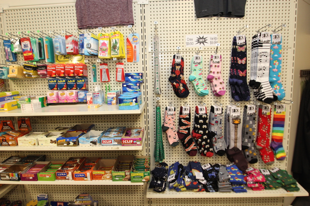 Convenience store items and a sock display in the HCC College Store